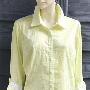 Style & Co Women Shirt Sz 18W Green White 3/4 Slv